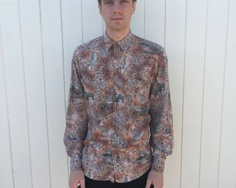 Men's Vintage Shirt. Patterned Cowboys, Horses & Native American Style. Long Sleeve 80s Fashion.