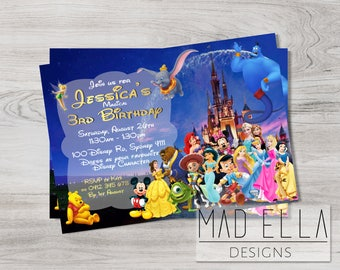 Disney Characters Invitation, Disney Birthday, Disney Party