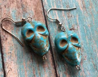Skull Southwest Boho Earrings, Southwest Jewelry, Boho Jewelry, Boho Earrings, Southwestern Earrings, Hippie Jewelry