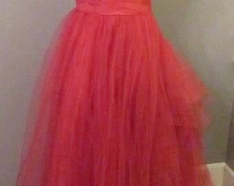 1950s Red Tulle Evening/Prom Dress