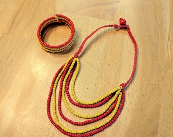 Red and Yellow Hemp Necklace, Red Hemp Necklace, Beaded Necklace, Beaded Bracelet, Necklace Set, Jewelry Set, Tiered Necklace, Bib Necklace