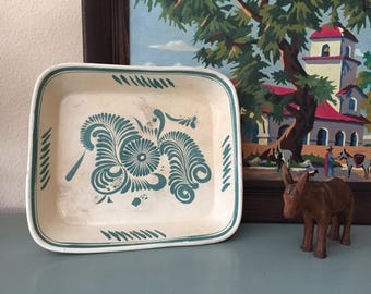 Vintage Mexican Pottery Rectangular Teal Blue and White Dish / Mexican Ceramic Dish