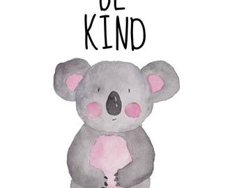 Be Kind 8 x 10 nursery printable poster, downloadable, art decor