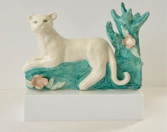 Handmade Leopard Sculpture Jewelry Holder by NYC Artist Bebe Booth