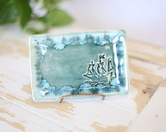 Green Pottery Ship Tray/Nautical Trinket Dish/Green Handmade Tray/Ship Jewelry Tray/Small Soap Dish/Green Pottery Tray/Soap Pottery Dish