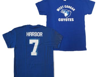 Lance Harbor T-shirt # 7 West Canaan Coyotes Jersey Shirt As Worn In Varsity Blues Movie Football Team QB Player Costume Adult Blue