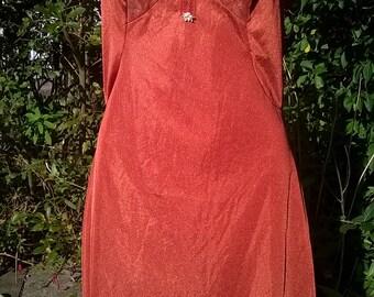 Vintage Lace Slip Dress 70's Antron Nylon Copper Full Slip Vintage Lingerie 1970's Nightie Nightgown Triumph  Size 44 Medium