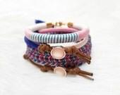 Bohemian Stacking Bracelets, Beach Bracelets for Girls, Hippie Jewelry, Braided Bracelets for Women, Thread Bracelets, Colorful Bracelets