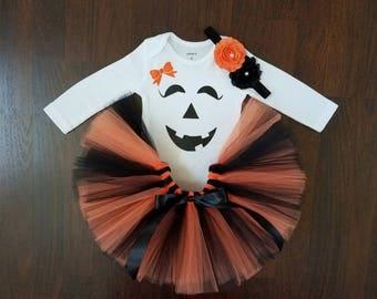 Baby Girl Halloween Tutu Outfit - Pumpkin Tutu Set
