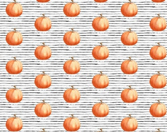 Halloween Fabric by the Yard. Quilting Cotton Organic Knit Jersey Minky. Pumpkins Pumpkin Autumn Orange Halloween Fall Baby Kids Stripes