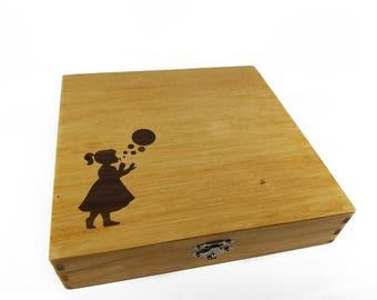 Baby Shower Gift - Little Girl Blowing Buubles Inlay Keepsake Box - Newborn Girl Gift