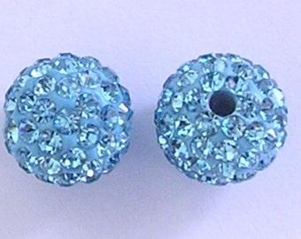10 Aqua Quality Pave Rhinestone Disco Balls 8mm 10mm 12mm Shamballa Beads