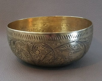 Brass bowl, Engraved bowl, sweet dish, brass dish, brass side bowl, engraved brass bowl, decorative bowl, brass ornament,