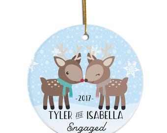 Engaged Ornament, Engagement Ornament, Couples Ornament, Personalized Ornament, Christmas Ornament, Just Engaged, Custom Ornament