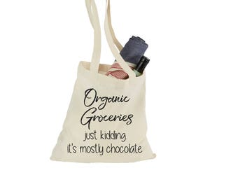 Chocolate Lover's Gift | Canvas Tote Bag | Beach Tote | Reusable Grocery Bag | Customize Phrase