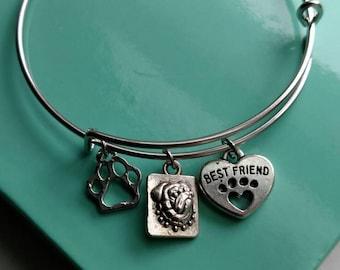 English Bulldog Best Friend Charm Bracelet