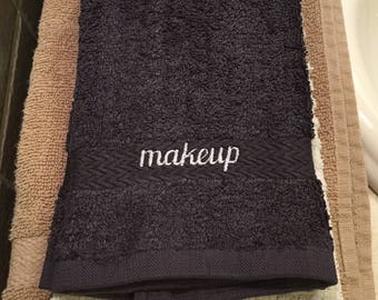 Makeup Washcloth, Charcoal Gray, Embroidered, Hostess Gift, Housewarming Gift