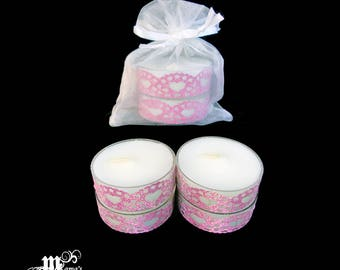 "Unscented Tea Lights with Light Pink Lace, 1.5""w x 0.6""h, Organza Pouch (x3), Sparkly, Wedding, Bride, Dinner, Long-lasting, Candles"
