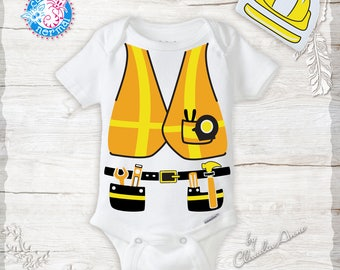 Unique Construction Worker Costume Tool Belt, Vest & Hard Hat Onesie Funny Cute unisex baby clothes Newborn halloween costumes for babies