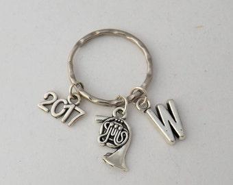 Personalised French horn keyring, unisex French horn gift, music keyring, music student or teacher keyring gift, musician exam gift