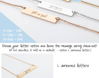 Silver Coordinates Necklace, Gold Bar Name Necklace, Rose Gold Initial Bar Necklace, Roman Numeral BFF Necklace, Bridesmaid Gift on a budget