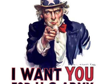 I Want You Uncle Sam Poster - World War Art - Vintage Army Print Art - Home Decor
