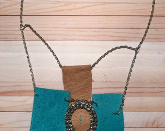 Leather jewelry  - handmade jewelry - handmade necklace - unique jewelry - unique necklace - statement jewelry - gift for her