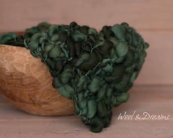 RTS Soft Forest Green Handspun Blanket Photography Prop Autumn Layer