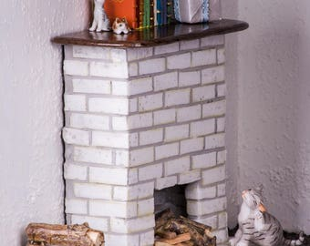 Miniature Fireplace (White Brick) -- Dollhouse Miniature 1:12 Scale