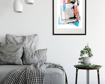 Abstract Watercolor Print Turquoise Red Wall Art Forma 1 Srains Minimalist Art Painting Download Printable Poster Modern  Minimal Decor