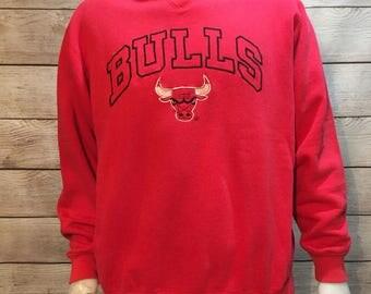 Rare Vintage NBA Basketball Chicago Bulls Logo 7 Crewneck Sweatshirt