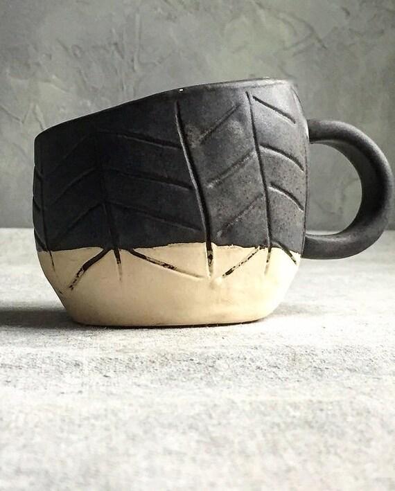 Matt Black Herringbone Mug