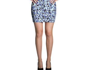 Blue Skirt, Geometric Skirt, Jersey Skirt, Fitted Skirt, Bodycon Skirt, Pencil Skirt, Mini Skirt, Casual Summer Skirt, Geometric Print,