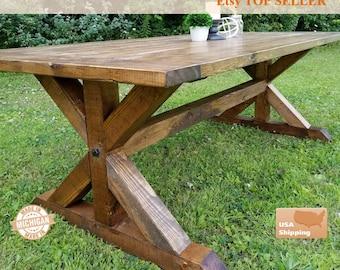 Farm House Table Breadboard, Breadboard Table, Farm Table, Dining Room Table, Dining Table, Trestle Table, Farm House Table