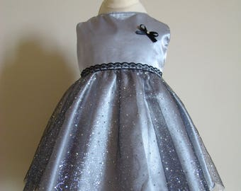 Dress baby girl silver grey satin and black tulle with silver glitter