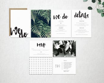 Garden Wedding invite set, modern wedding invite, printable wedding invite, Boho wedding invite, Minimalistic invite, invite template