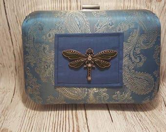 Dragonfly Steampunk large clutch handbag