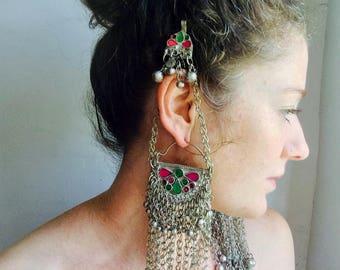 Large Kuchi Hoop Earrings with Jingles.