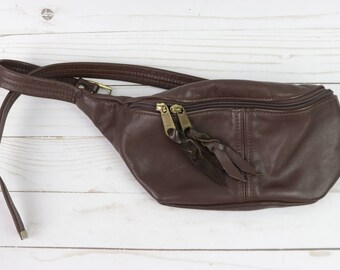 Vintage Brown Leather Fanny Pack/ Fanny Leather Pack Hip Bag Goa Bohemian Hippie Festival Adjustable