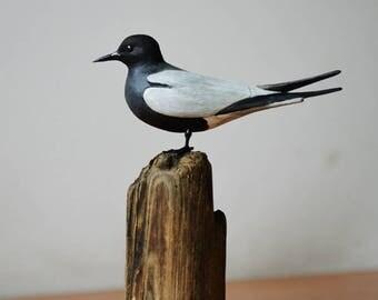 Black Tern - Chlidonias niger - handmade wooden sculpture of shore birds