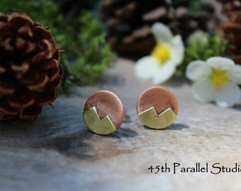 Mixed Metal Mountain Earrings, Stud Earrings, Copper Earrings, Brass Earrings, Nature Jewelry, Mixed Metal Earrings, Mountain Earrings