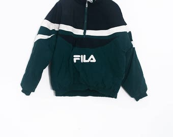 fila jacket. vintage fila coat | fila 90\u0027s puffer jacket retro