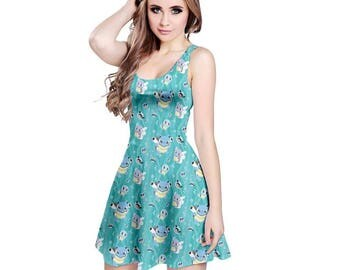 Squirtle Dress - Skater Dress 1st Generation Pokemon Evolutions Dress Wartortle Dress Pokemon Dress Blastoise Dress Plus Size Cosplay Dress