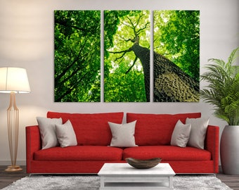 Large 3 Panels Wall Art Nature Canvas Print - Inspirational Tree Picture Taken From the Bottom Up, Nature Canvas Art, Housewarming Gift