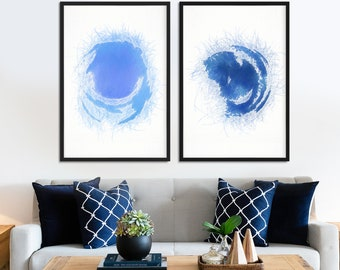 Set of 2 large blue minimalist abstract wall art giclee prints. Framed and ready to hang home and office circle modern abstract blue art.