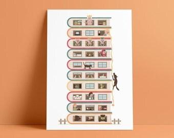 10 Stories High A4 Art Print