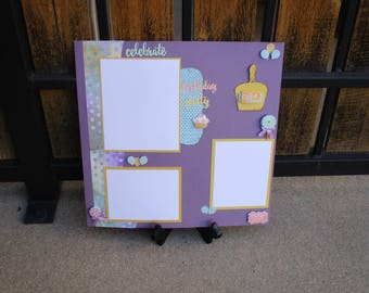 Premade 12 x 12 scrapbook layout, Happy Birthday layouts, One page layouts, Cupcakes and Balloons