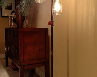 Pipe Floor Lamp 4-fixture INCLUDES DIMMER Switch INCLUDES 4 bulbs Mason Jar Living Room Steampunk