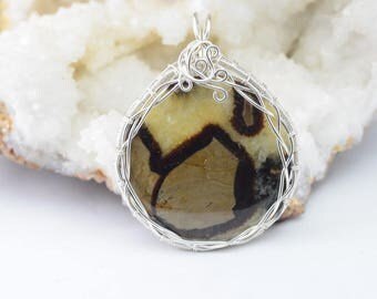 Septarian - Wire wrapped silver plated copper wire pendant