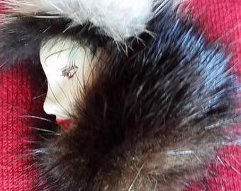 Fur Brooch - Vintage 1980s Mink Real Fur Ceramic Lady Brooch
